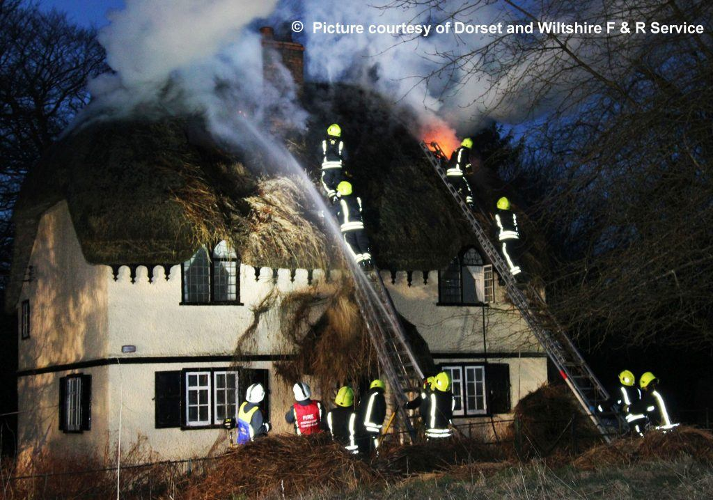 Thatch Fire - Courtesy Dorset Fire and Rescue - Roundway