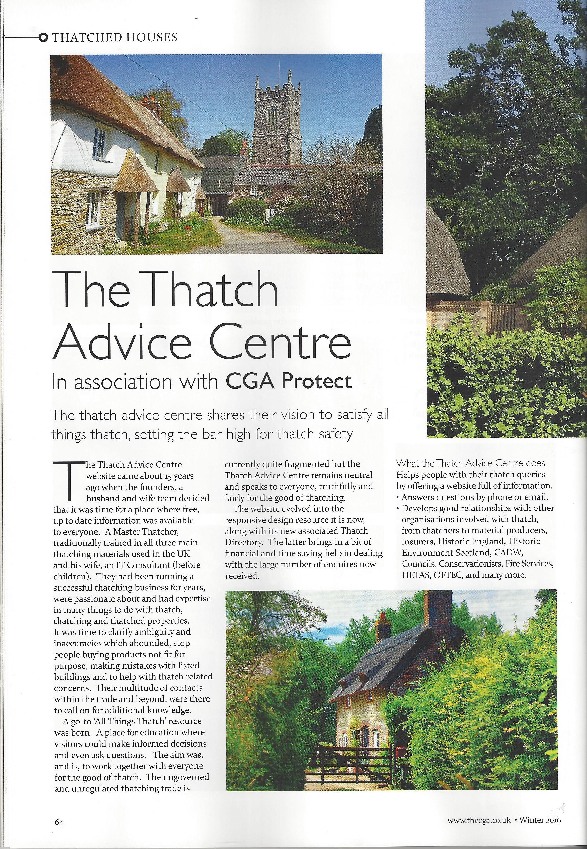 CGA Magazine Article on Thatch Advice Centre Page 1