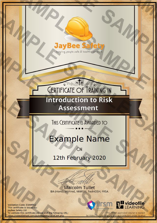 Health and Safety example Certificate