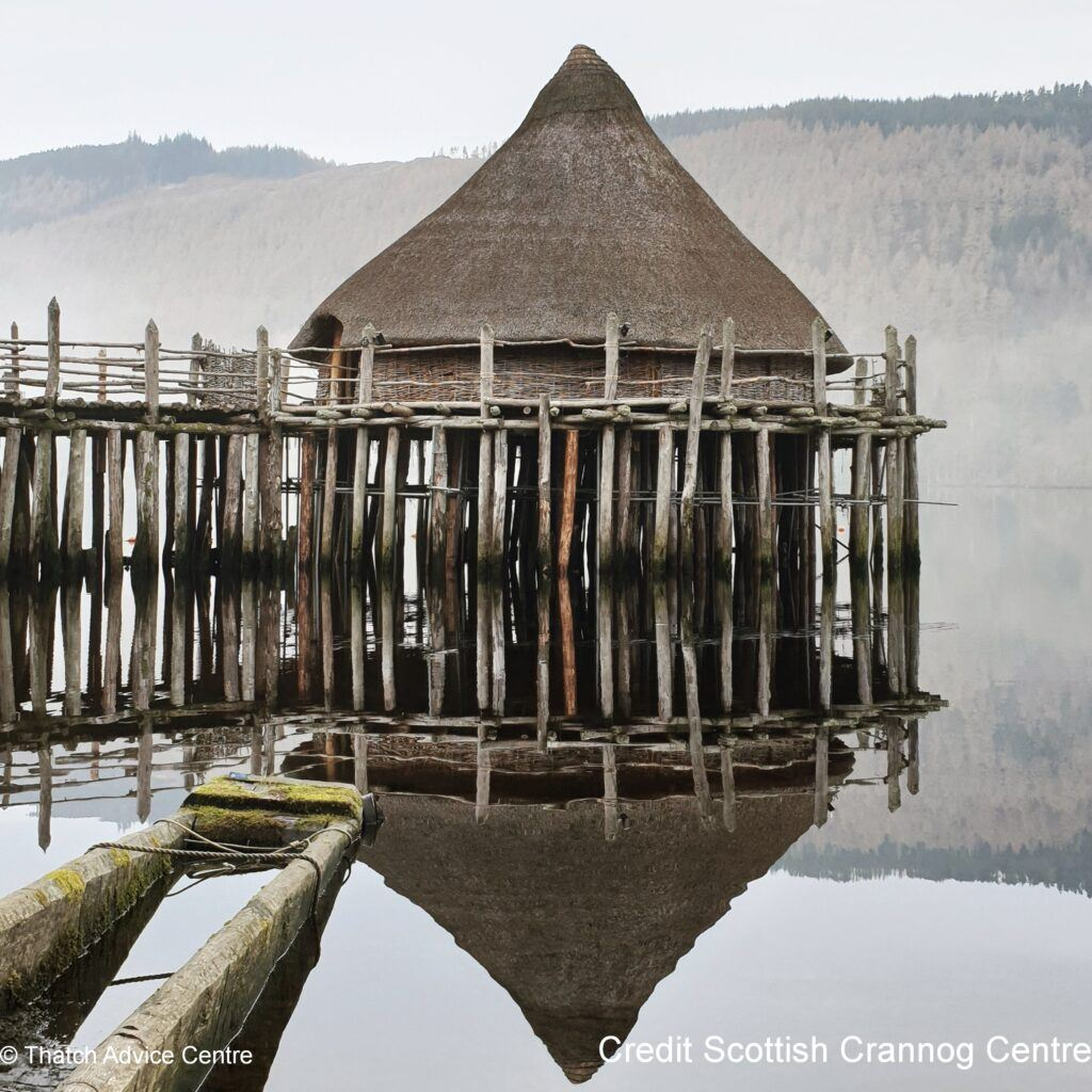 Thatch Advice Centre Article - Scottish Crannog Centre misty reflection